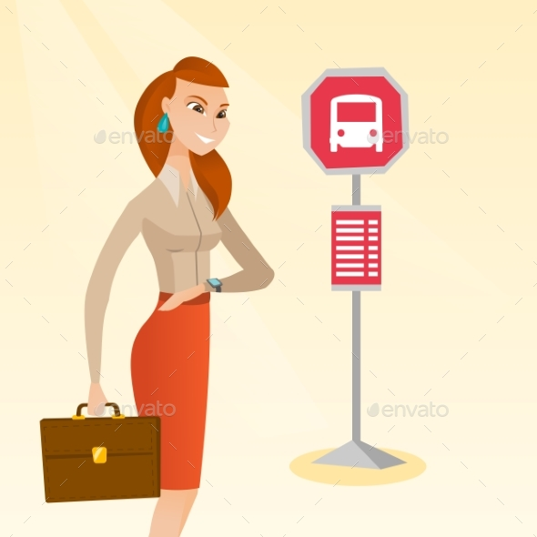 GraphicRiver Caucasian Woman Waiting for a Bus at the Bus Stop 20476621