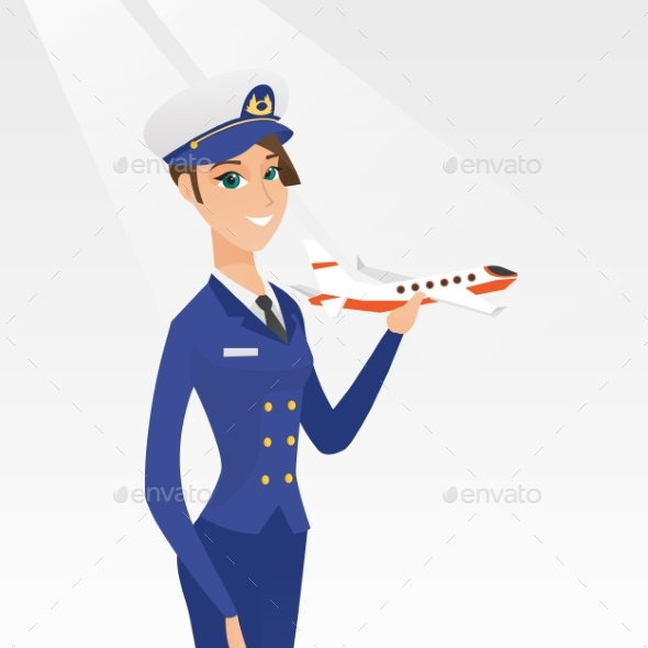 GraphicRiver Cheerful Airline Pilot with the Model of Airplane 20476622