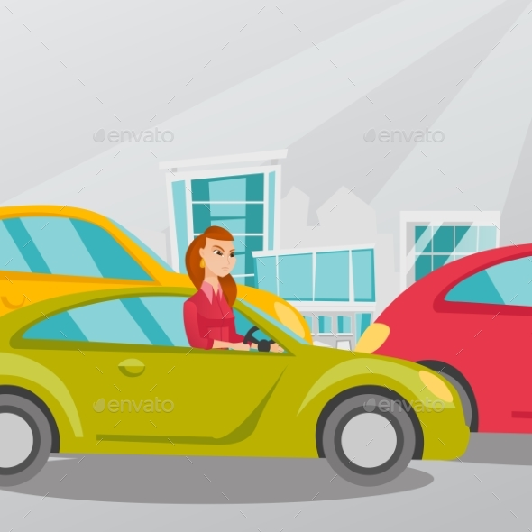 Angry Caucasian Woman in Car Stuck in Traffic Jam. - People Characters