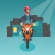 Caucasian Man Riding a Motorcycle at Night. - GraphicRiver Item for Sale