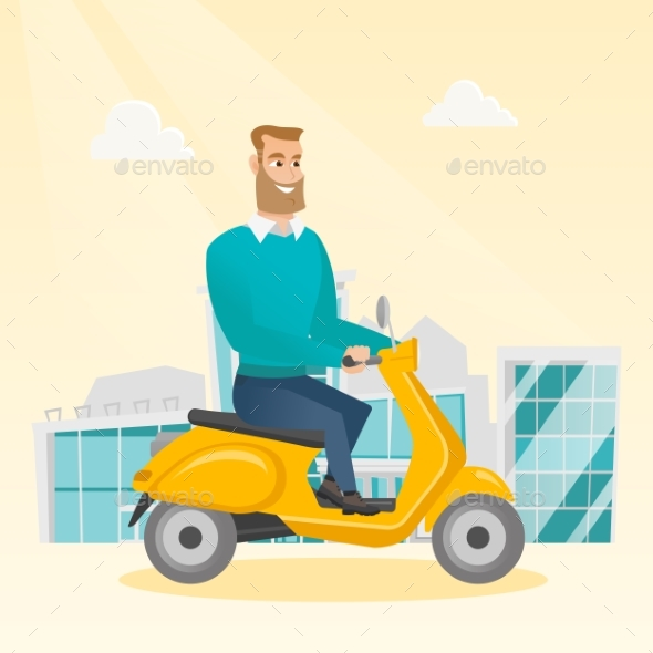 GraphicRiver Young Caucasian Man Riding a Scooter 20476628