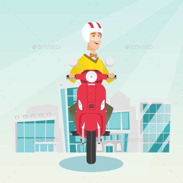 GraphicRiver Young Caucasian Man Riding a Scooter 20476629