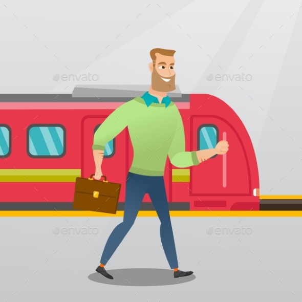 GraphicRiver Young Man Walking on a Railway Station Platform 20476630