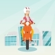 Young Caucasian Woman Riding a Scooter. - GraphicRiver Item for Sale