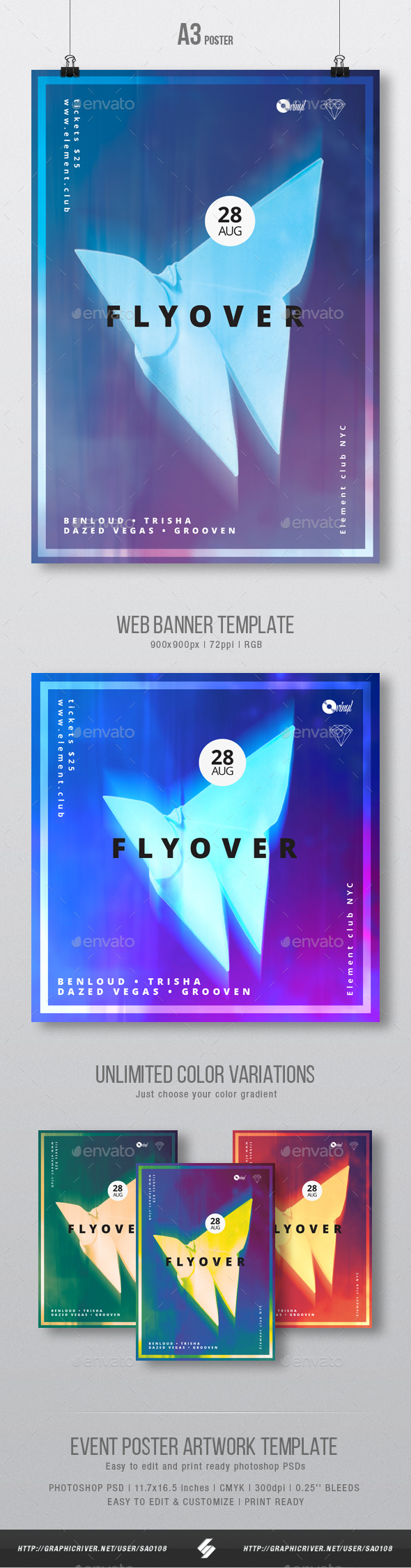 Fly Over - Neon Party Flyer / Poster Artwork Template A3 - Clubs & Parties Events