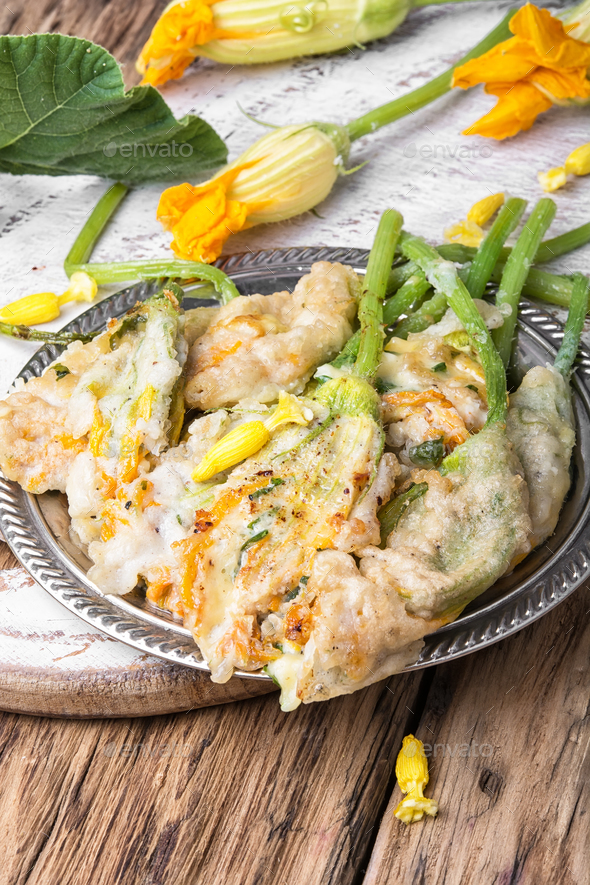 Dish of Zucchini flowers - Stock Photo - Images