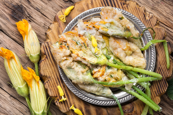 Dish of Zucchini flowers - Stock Photo - Images