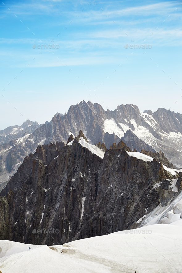 View of Chamonix Mont Blanc Massif, French Alps - Stock Photo - Images