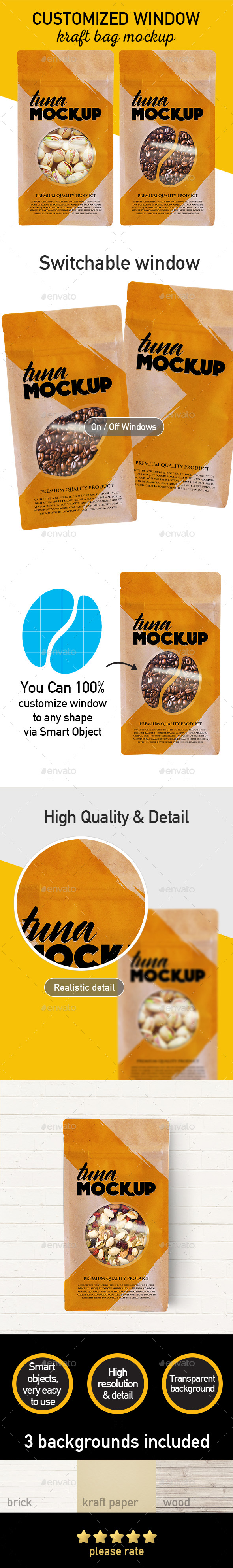 Window Customized Kraft Bag Mockup - Product Mock-Ups Graphics