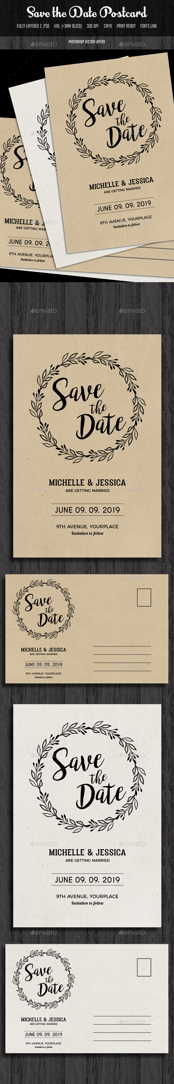 Save the Date Invitation Postcard - Cards & Invites Print Templates