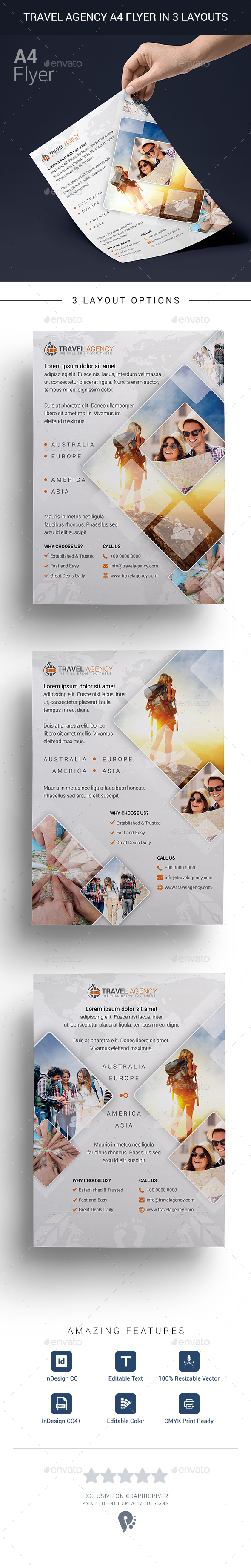 Travel Agency A4 Flyer in 3 Layouts - Flyers Print Templates