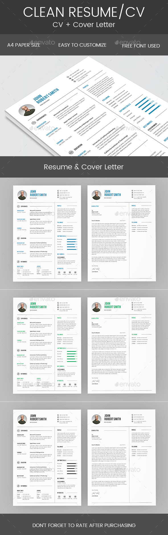 GraphicRiver Clean Resume & Cover Letter 20477223