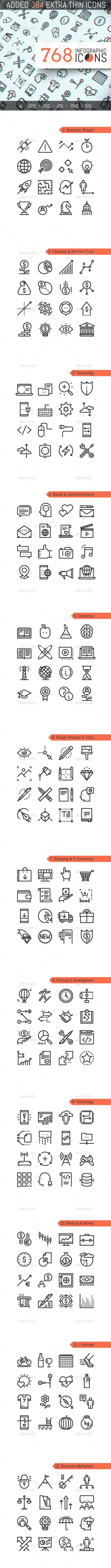 768 Infographic Icons Pack - Business Icons