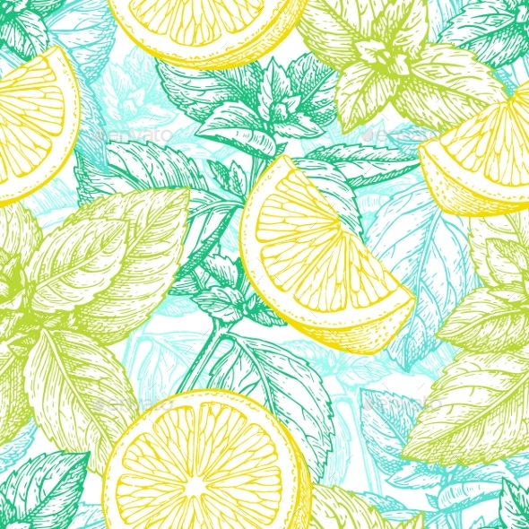GraphicRiver Seamless Pattern with Lemon and Mint 20477525