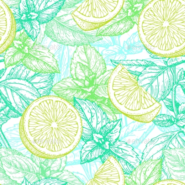 Seamless Pattern with Lime and Mint. - Patterns Decorative