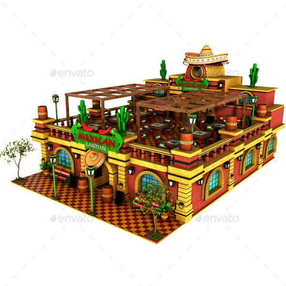 Cartoon Mexican Canteen - Architecture 3D Renders
