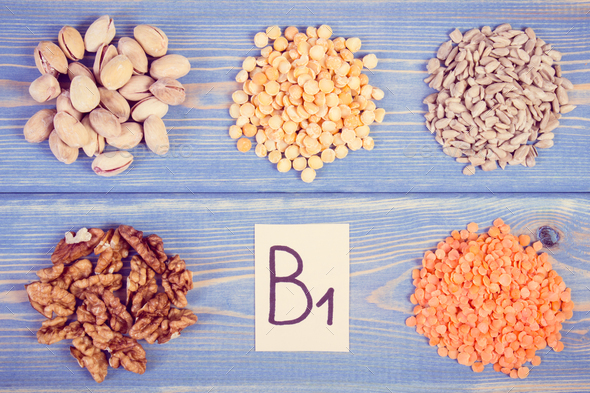 Vintage photo, Ingredients containing vitamin B1 and dietary fiber - Stock Photo - Images