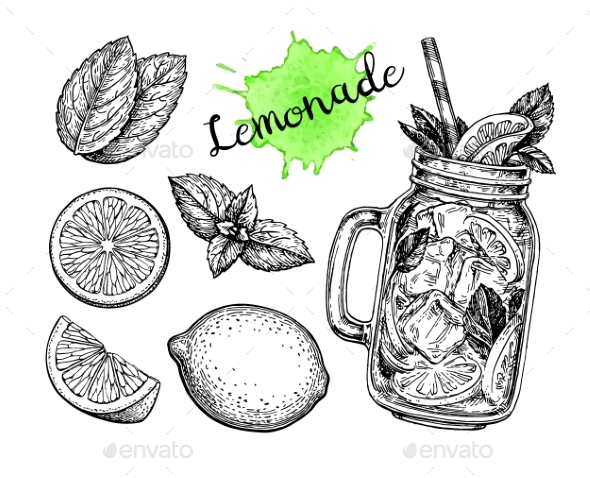 Lemonade and Ingredients. - Food Objects