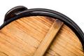 Closeup of wooden cap for pan.