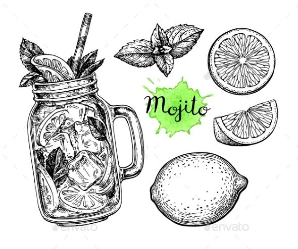 Mojito Drink and Ingredients - Food Objects
