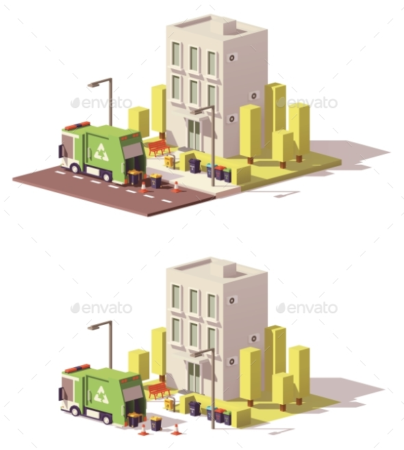Vector Low Poly Building Icon - Buildings Objects