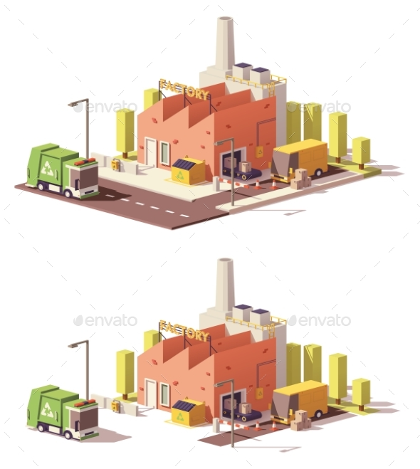 Vector Low Poly Factory Icon - Buildings Objects