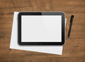 Blank digital tablet on a desk