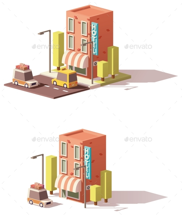 Vector Low Poly Hotel Icon - Buildings Objects
