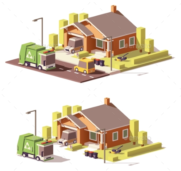 Vector Low Poly House Icon - Buildings Objects