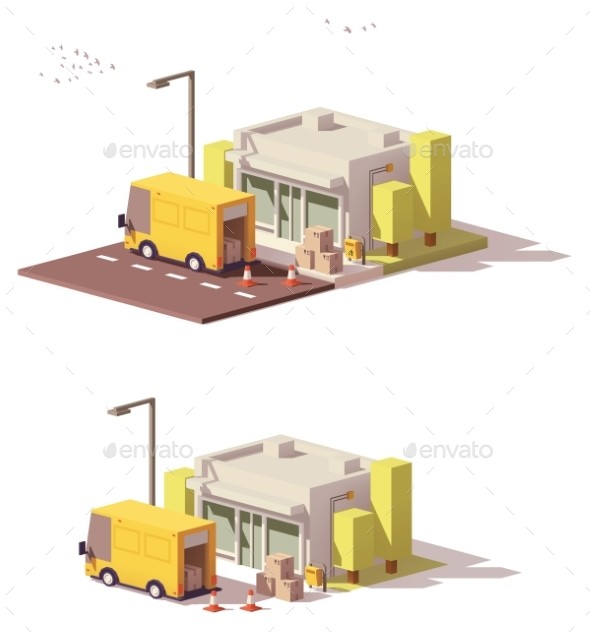 GraphicRiver Vector Low Poly Shop Icon 20478118
