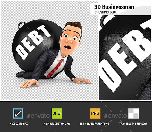 GraphicRiver 3D Businessman Crushing Debt 20478128