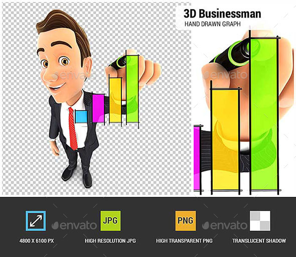 GraphicRiver 3D Businessman Hand Drawn Graph 20478136