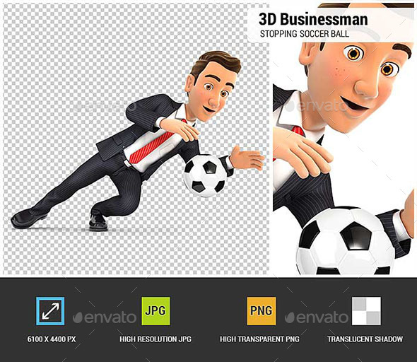 3D Businessman Stopping Soccer Ball - Characters 3D Renders
