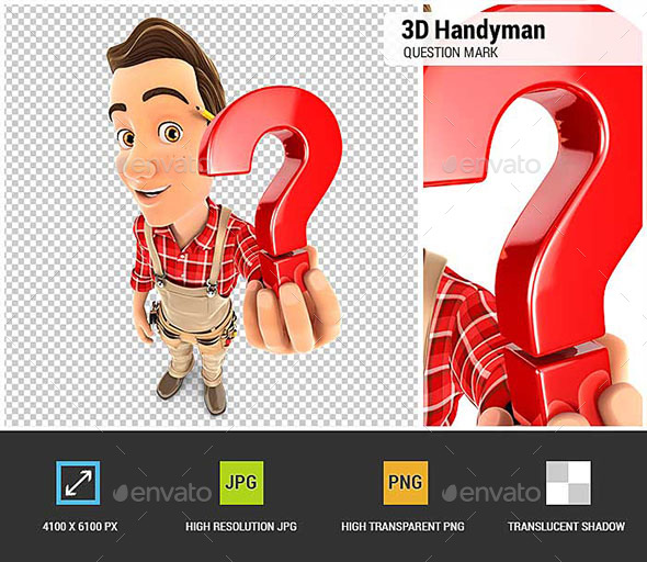 GraphicRiver 3D Handyman Holding a Question Mark Icon 20478153