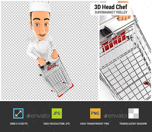 3D Head Chef Empty Supermarket Trolley - Characters 3D Renders