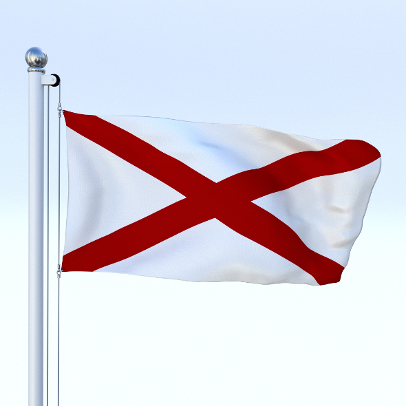 Animated Alabama Flag - 3DOcean Item for Sale