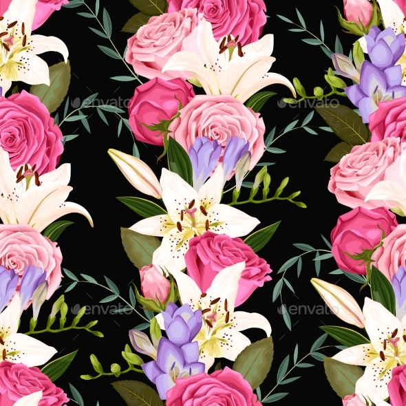 GraphicRiver Seamless Pattern with Lilies and Roses 20478206
