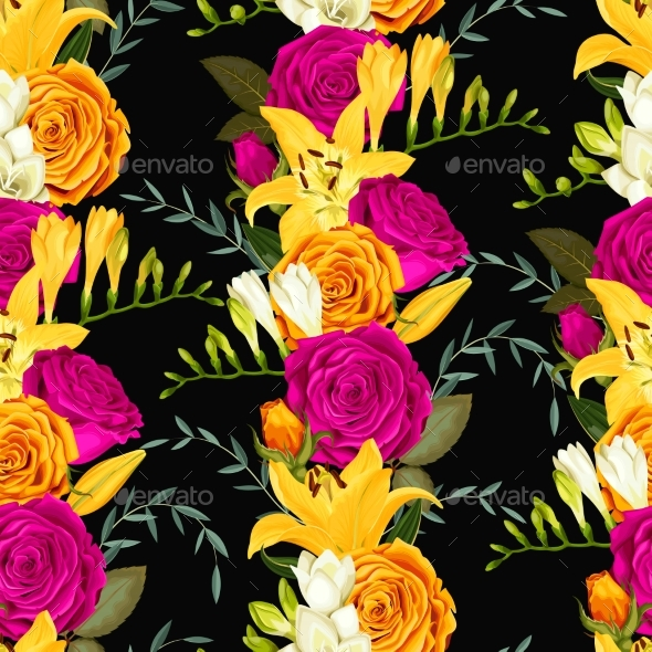 GraphicRiver Seamless Pattern with Lilies and Roses 20478303