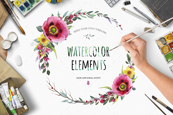 GraphicRiver Watercolour Flower Create Wreath 20478367
