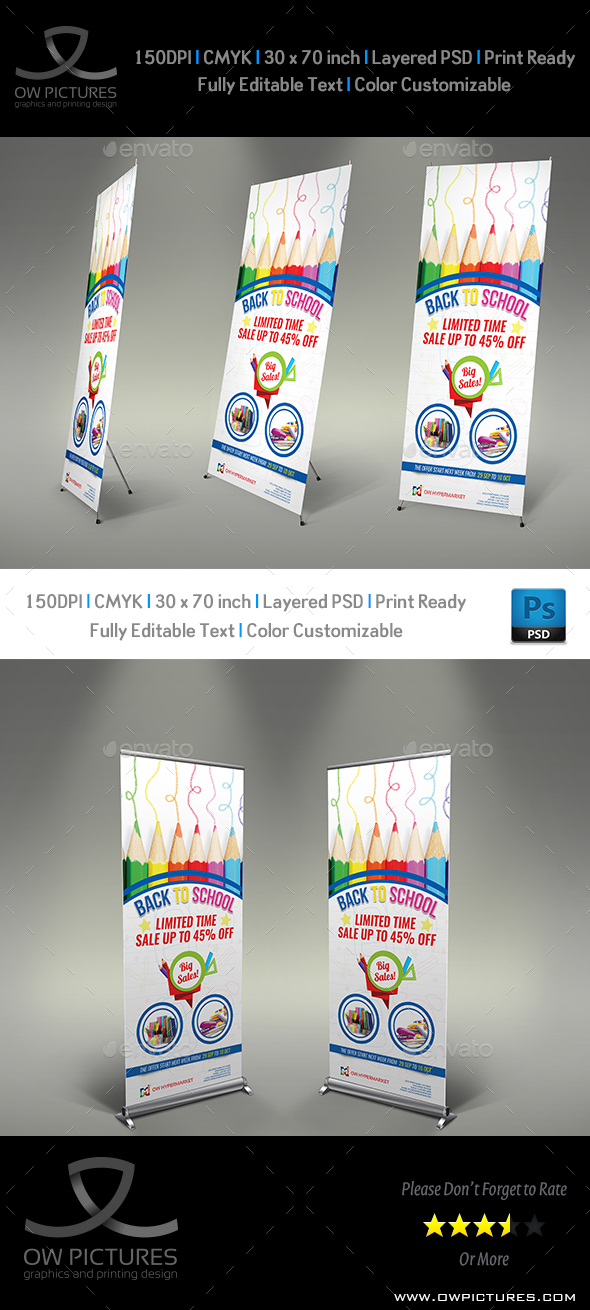 GraphicRiver Back To School Signage Banner Roll Up Template 20478514