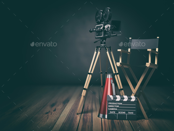 Video, movie, cinema concept. Retro camera, clapperboard and director chair. 3d - Stock Photo - Images