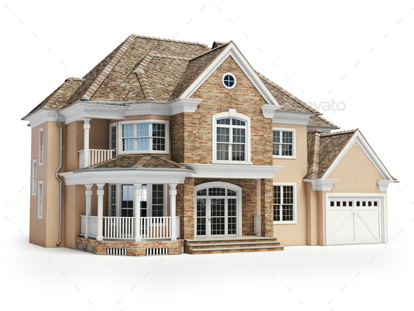 House isolated on white. Real estate concept. 3d - Stock Photo - Images