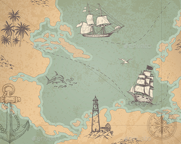 Vintage Vector Marine Map - Travel Conceptual