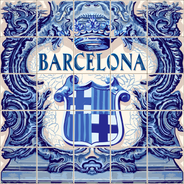 GraphicRiver Barcelona Ceramic Tiles Vector Blue Fridge Magnet 20478979