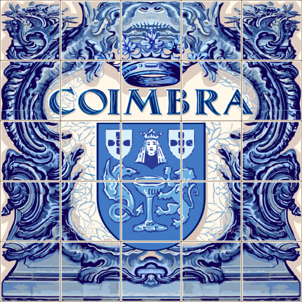 Coimbra Ceramic Tile Beautiful Vector Souvenir - Vectors