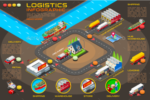 Export Trade Logistics Infographic Vector Icons - Vectors