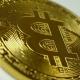 Crypto Currency Gold Bitcoin - BTC - Bit Coin.  Shots Crypto Currency Bitcoin Coins Rotatin