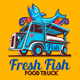 Food Truck Fish Shop Delivery Service Vector - GraphicRiver Item for Sale