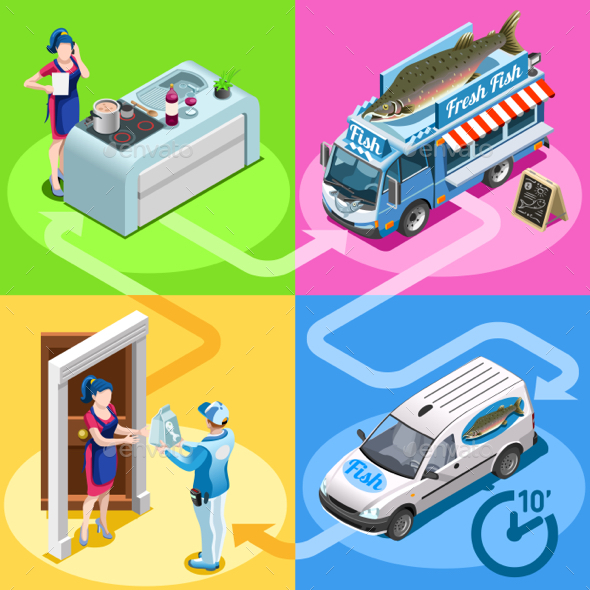 Food Truck Fish Shop Home Delivery Vector Isometric People - Vectors