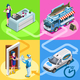 Food Truck Fish Shop Home Delivery Vector Isometric People - GraphicRiver Item for Sale